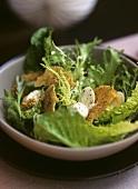 Caesar salad with quails' eggs and Parmesan sesame crisps