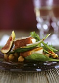 Ham-wrapped scallops with chick-pea salad