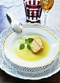 Apple soup with fried slices of custard