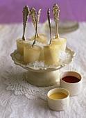Elegant champagne ice lollies