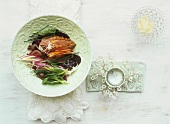 Beetroot salad with duck breast, figs and horseradish