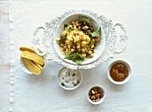 Iranian polo (pilaw) with chick-peas, dates and chestnuts