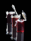 Raspberry and chocolate jam, cherry jam and blackberry jam