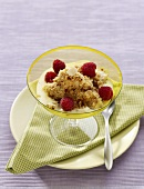 Fruit with spiced breadcrumbs and custard