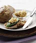 Potato spread with pine nuts on wholemeal bread