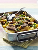 Austernpilz-Kartoffel-Auflauf mit Kurkuma
