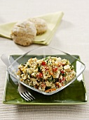 Quinoa salad with tofu and vegetables