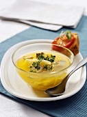 Yellow beetroot and potato soup with tofu
