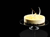Lemon mousse cake with liquorice base