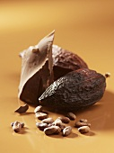 Chocolate, cacao fruits and cocoa beans
