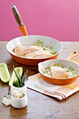 Salmon fillet with cucumber horseradish sauce
