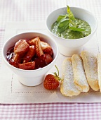 Strawberry compote with sweet pesto (basil and mint sauce)