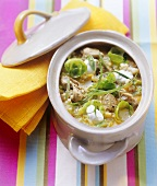 Pearl barley soup with veal, savoy cabbage & Brussels sprouts