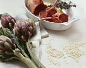 Artichokes, lamb, rice
