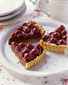 Sour cherry tart with shortcrust pastry case & ganache cream