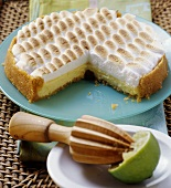 Lime cheesecake with meringue topping