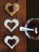 Heart-shaped Linzer biscuits with redcurrant jelly