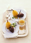 Chocolate mousse with pears poached in white wine
