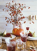 Autumnal table decoration of pumpkin and rose hips