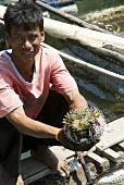 Thai fisherman with a blowfish