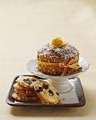 Nut cake and almond chocolate cookies