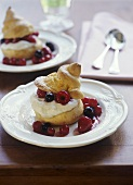 Choux pastry (made with beer) with curd cheese cream & berries