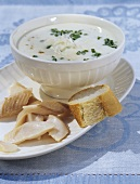 Potato and horseradish soup with smoked trout