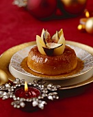 Baba au rhum (Rum savarin) with figs and pears (Christmas)