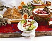 Russian Easter buffet (Pirog, eggs, borscht, salad)