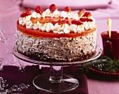 Chocolate quark cream cake with blood oranges, Xmas decoration
