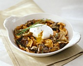 Baked mushrooms with poached egg