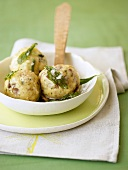 Bacon dumplings with sage butter
