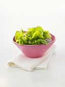 A small bowl of mixed green salad with onions