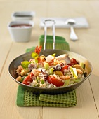 Asian rice, vegetable and seafood stir-fry