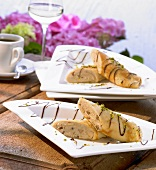 Crêpes with chestnut cream filling and chocolate sauce