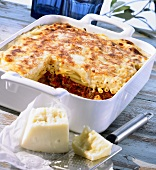 Macaroni and mince bake in a baking dish