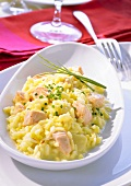 Saffron risotto with salmon and chives