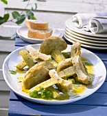 Marinated artichoke hearts with herbs (appetiser)
