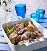 Oven-baked chicken pieces with port and figs