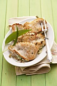 Chicken escalopes stuffed with ramsons (wild garlic) cream