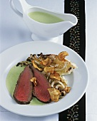 Roast rump of veal with cabbage and sorrel sauce