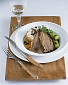 Boiled beef (shoulder) with quince puree and pumpkin seeds