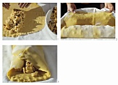 Making apple strudel