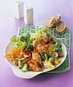 Mixed salad with chicken breast fillet and walnuts