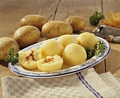 Potato dumplings with bacon filling and raw potatoes