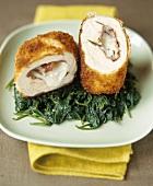Chicken Cordon Bleu with bresaola & mozzarella on spinach