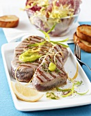 Grilled tuna steaks with lemon vinaigrette and wasabi