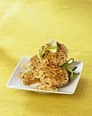 Fish cakes with mustard onions