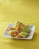 Herb pasta squares with lentil & orange filling