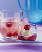 Cherry vodka punch with vanilla ice cream